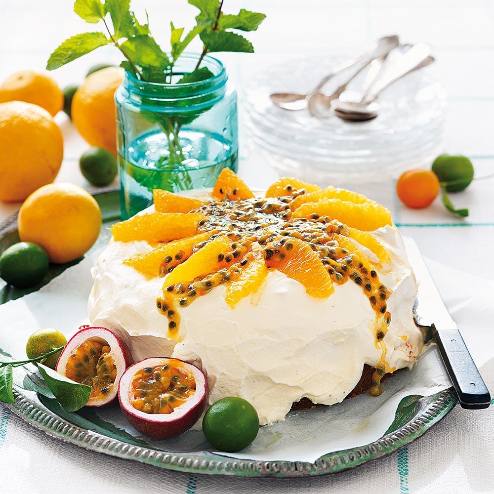 Apelsin- och passionstårta