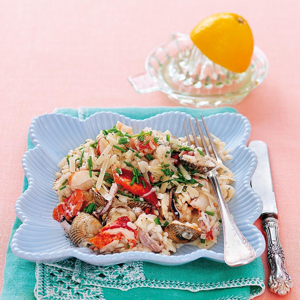 Krämig risotto med skaldjur