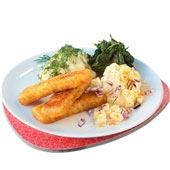 Fiskpinnar med curry- och äppelcrème fraiche