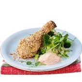 Sesampanerade kycklingklubbor med stekt ris