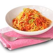 Spagetti med het chiliköttfärssås
