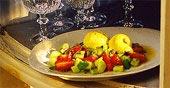 Marinerad frukt med saffransglass