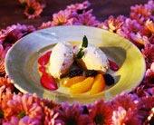 Sommardessert med crème fraiche-glass