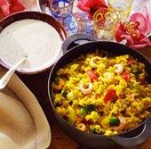 Indisk räkgryta med svalkande ris