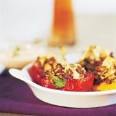 Paprikor med ris- och svampfyllning