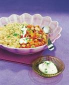 Couscous med lime och vitlökssås