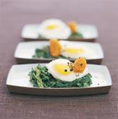 Pocherade ägg med krämig spenat