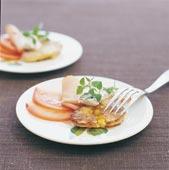 Majsplättar med skinka och crème fraiche-klick