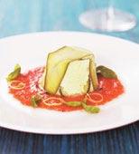 Zucchinimousse med het tomatsås