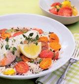 Lax med vildrismix och stekta tomater