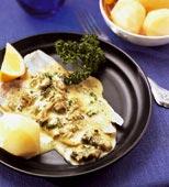 Torskfilé med gräddig mussel- och persiljesås