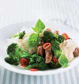 Ingefärsmarinerad fläskkarré med broccoli och chili