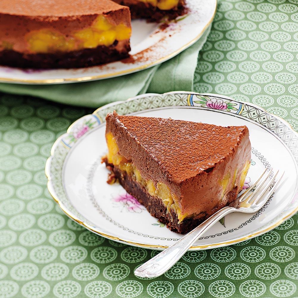 Maffig choklad- och mangotårta