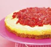 Cheesecake med hallon och passionsfrukt