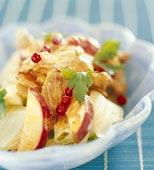 Skinkwok med äpple och lingon
