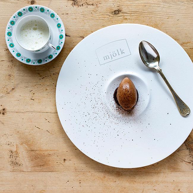 Kakao-och kaffeglass med kaffeganache