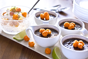 Mörk chokladbrulée med hjortroncrème