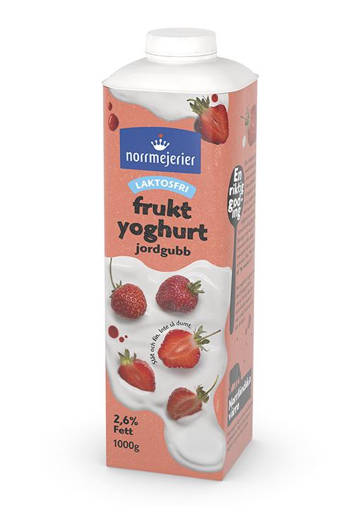 Laktosfri Fruktyoghurt 2,6% Jordgubb 1000g