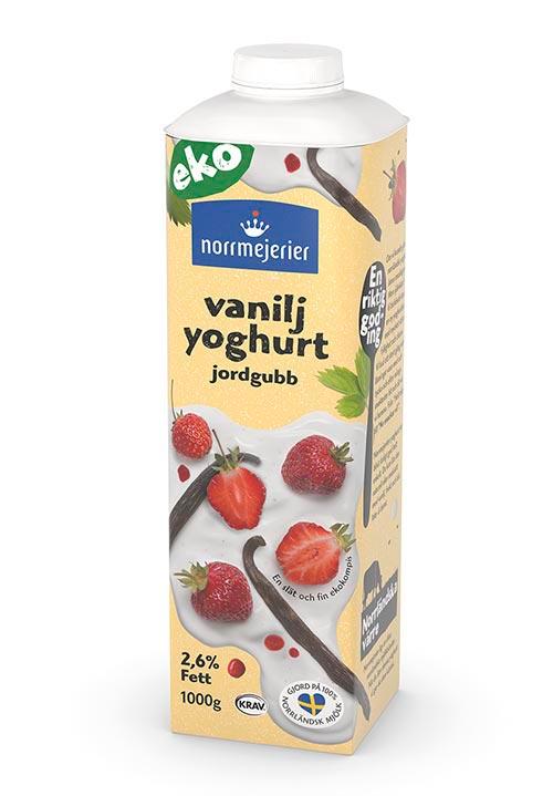Ekologisk Vaniljyoghurt 2,6% Jordgubb KRAV