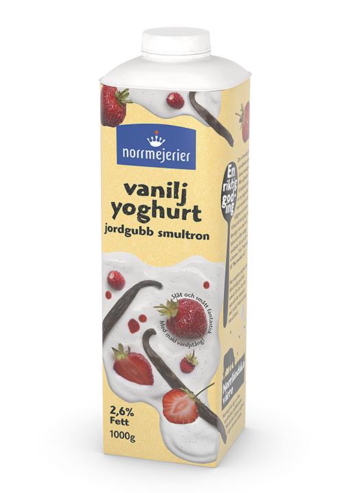 Vaniljyoghurt 2,6% Jordgubb-Smultron