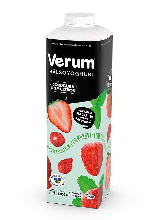 Ekologisk Verum® Hälsoyoghurt 3% Jordgubb-Smultron KRAV