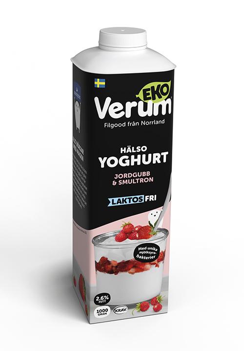 Ekologisk Verum® Hälsoyoghurt 2,6% Jordgubb-Smultron Laktosfri KRAV