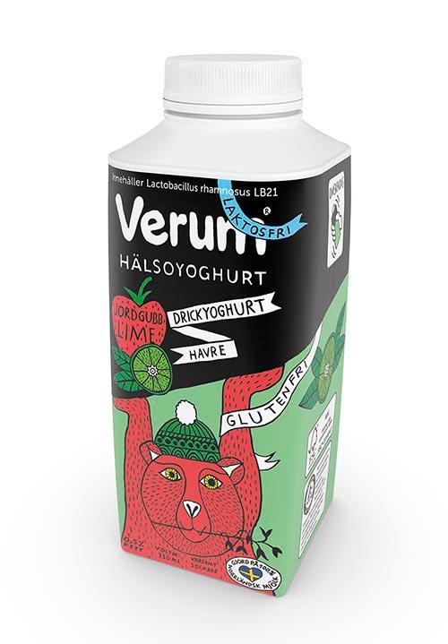 Verum® Hälsoyoghurt Drickyoghurt 0,5% Jordgubb-Lime-Havre