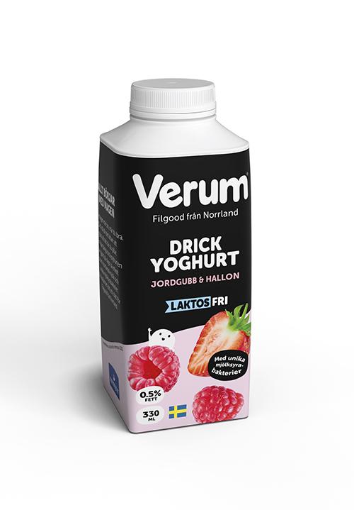 Verum® Drickyoghurt 0,5% Jordgubb-Hallon Laktosfri 330ml