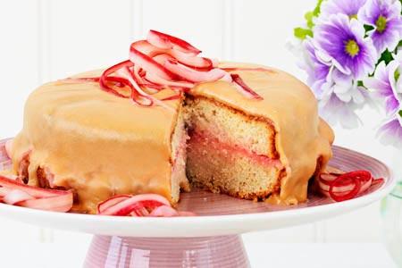 kolatårta med rabarber